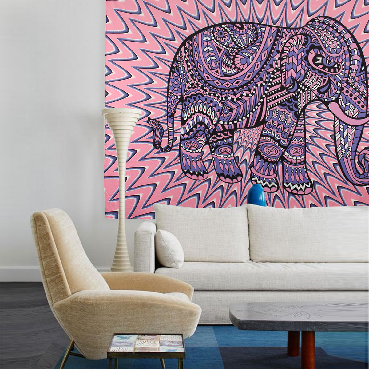 Elephant Mandala Tapestry Throw Towel Hippie Tapestry Floral Printed Home Decor Wall Tapestries Bedspread 210*150CM 17