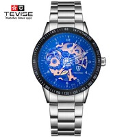 Tevise Mens Automatic Mechanical Watch Tourbillon Males Skeleton Wrist Watches Gift Box Steel Wristwatches Relojes Mecanicos