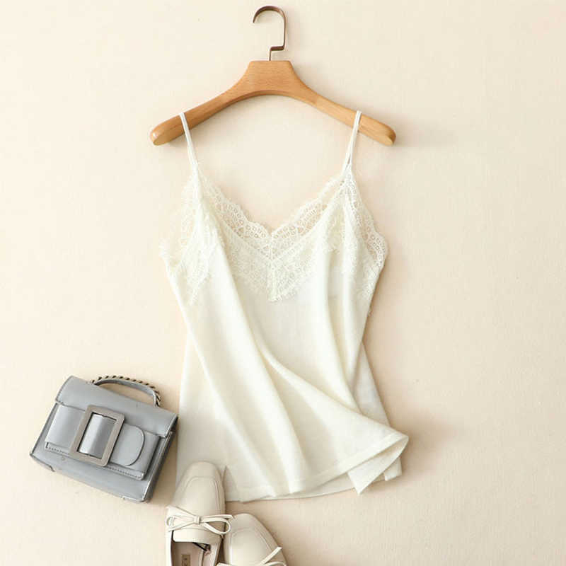 New Arrival 100% Cashmere Tops With Lace Spring Knitted Basic White Tank Camis