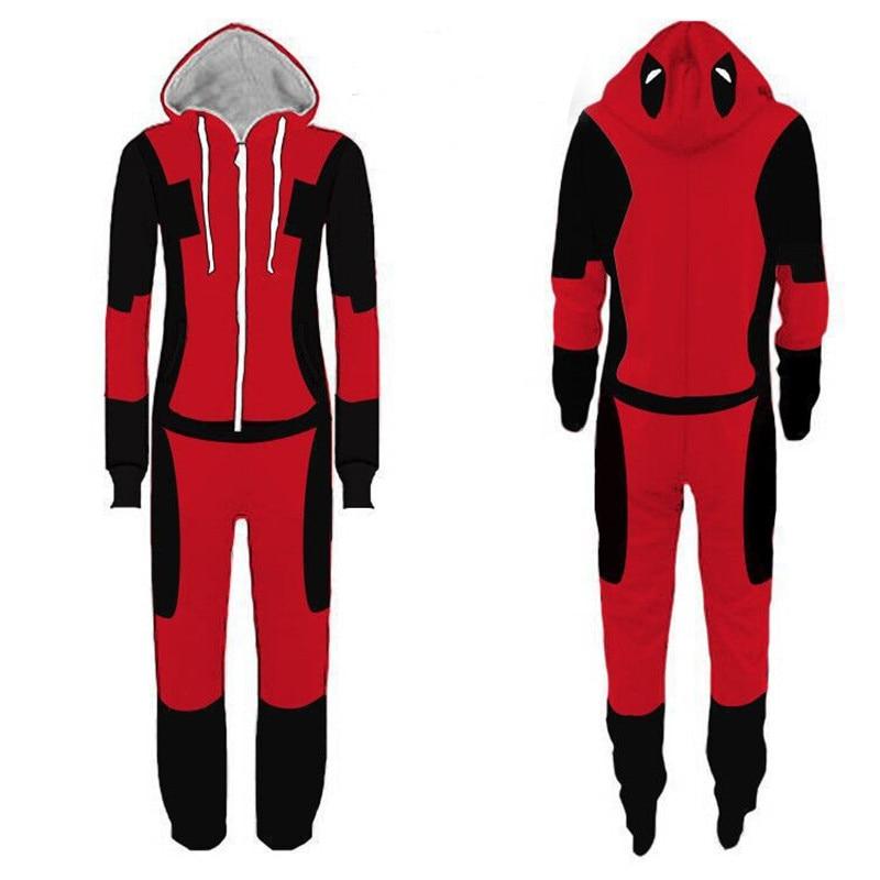 Winter Men/Women Onesies Superhero Pajamas Costunes Spiderman The Flash Deadpool Cosplay Flannel Warm Sleep Lounge Clothing