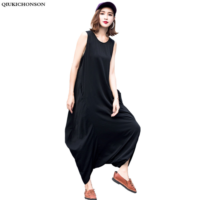 summer 2018 jumpsuite plus size jumpsuits women rompers back zip sleeveless pockets korean fashion harem pants wide leg pants