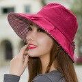 2016 verano estilo coreano señora del sombrero del sol protector solar UV plegables sombreros de playa muchos colores disponibles de la muchacha Sun Travel sombreros