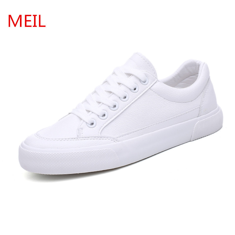 MEIL 2018 New Spring and Summer White Shoes Women sneakers Flat Leather Canvas Shoes tenis feminino Casual Shoes Female 2018 new canvas shoes spring summer women shoes genuine leather canvas shoes female round toe flat shoes lace up female canvas s