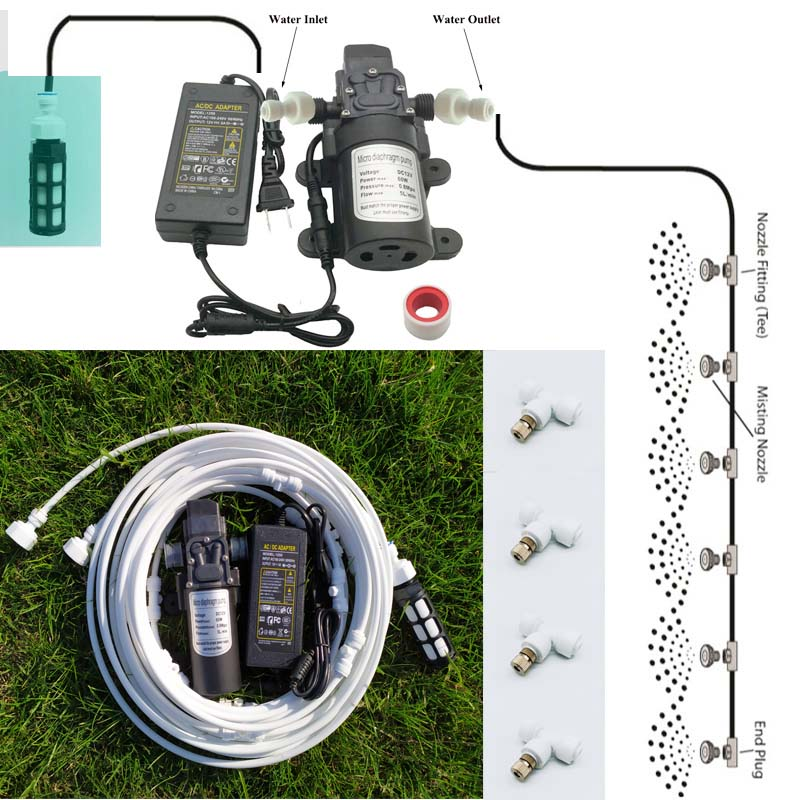 White 6-18 Meters Garden Electric Pump  Misting Spray System Nebulizer For Flowers Plant Greenhouse Garden Irrigation
