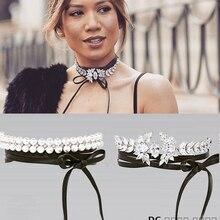 OMENG New fashion jewelry black terciopelo leather bow Flower Rhinestone choker necklace for women girl xl742
