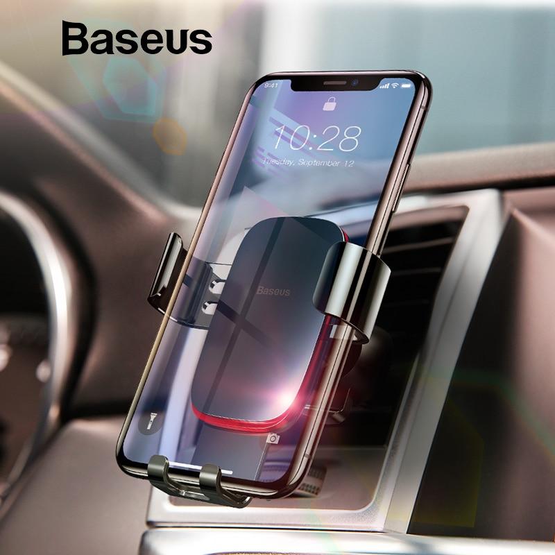 Baseus Alle Metall Auto Telefon Halter Universal Schwerkraft telefon halter in auto Auto-gesperrt Air Vent Ständer Halterung für iPhone X 8 7