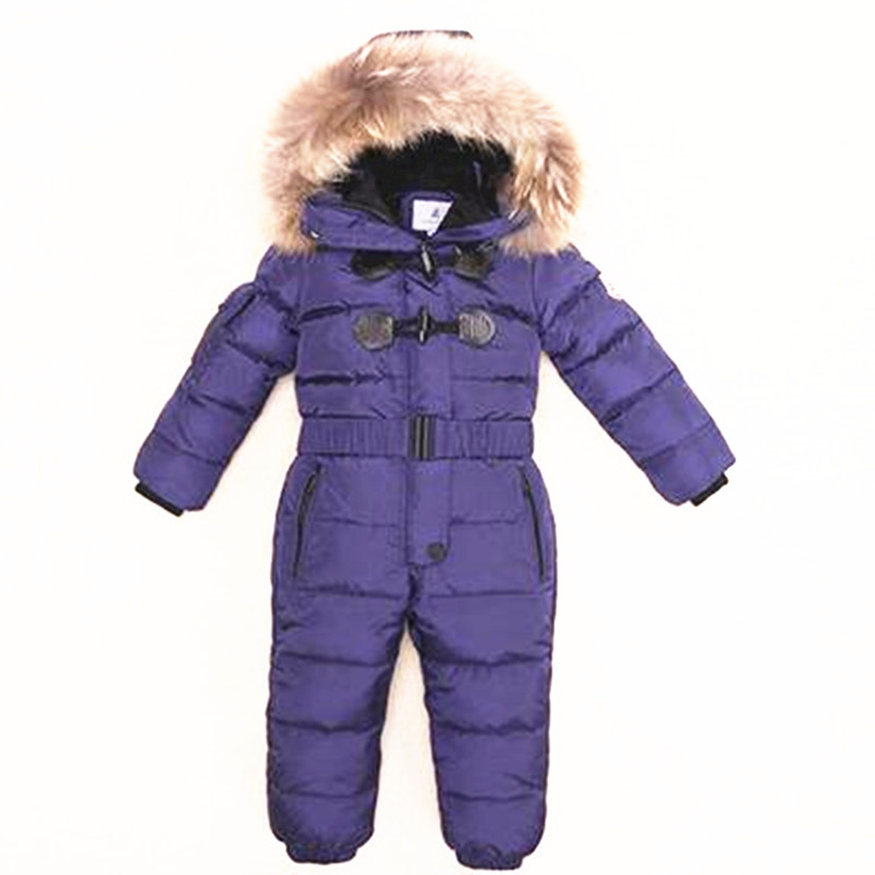 3-6T Russia Winter Keeps Warm Snow Kids Girls Clothes Big Fur Hats Down Romper Girls Catsuit Outdoor Overalls for Boy Kids wool 2 pieces set kids winter hat scarves for girls boys pom poms beanies kids fur cap knitted hats