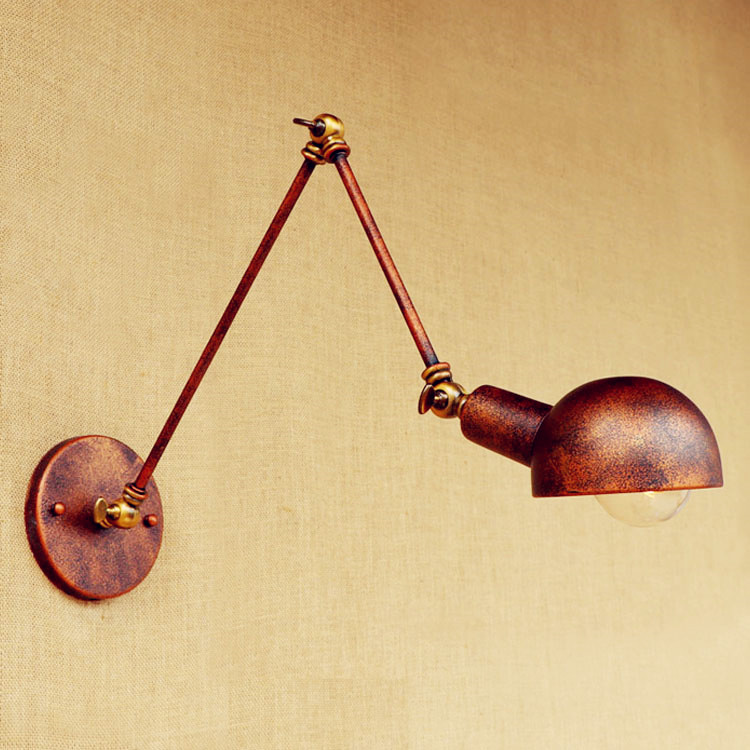 Edison Wall Sconce Antique Loft Industrial Wall Lamp Home Lighting Swing Long Arm Wall Light Arandela Lamparas De Pared top grade wood handcrafted swing arm light sconce led wall lamp nordic style home decoration lighting e27 black with switch