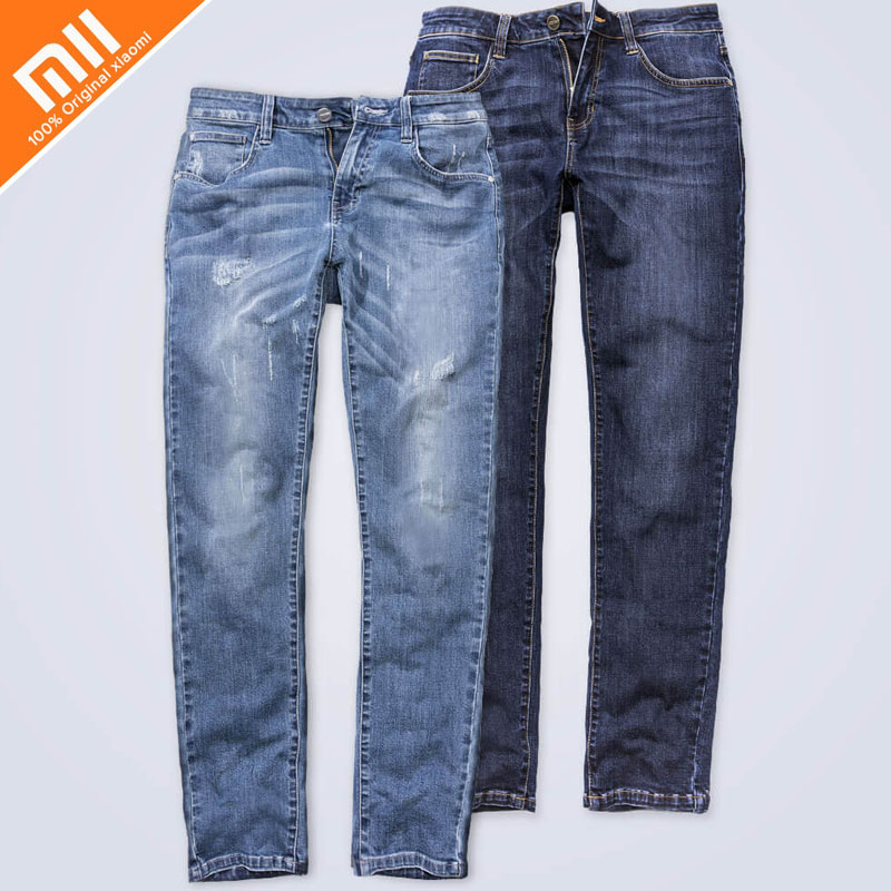 xiaomi 90 points comfortable jeans men's models Jeans men's straight men's trousers winter men's long pants loose work to work brand 2017 new fashion men s straight flanging nine points trousers big embroidered jeans black and blue jeans male m xxl