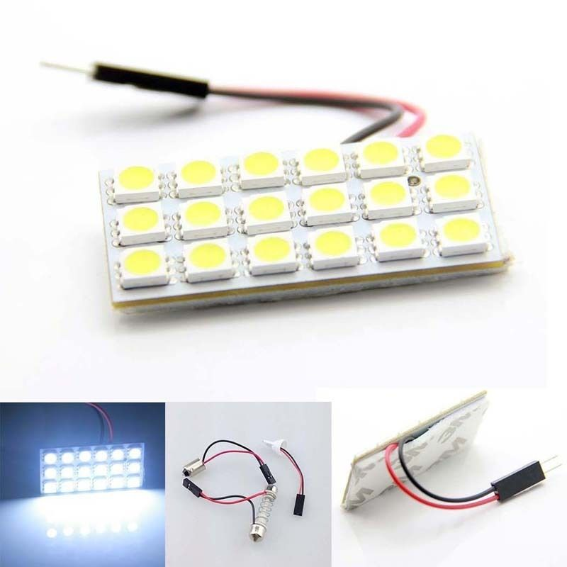 Hot Sales 1Pcs White Car Roof Dome Light Panel T10 5050 18 SMD LED + T10 Festoon Adapter Set