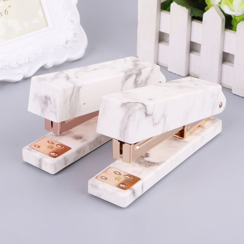 New Arrivals Fashion Stapler Rose Gold Marble Printing Stapler Manual Staples For Office Student School Home Stationery