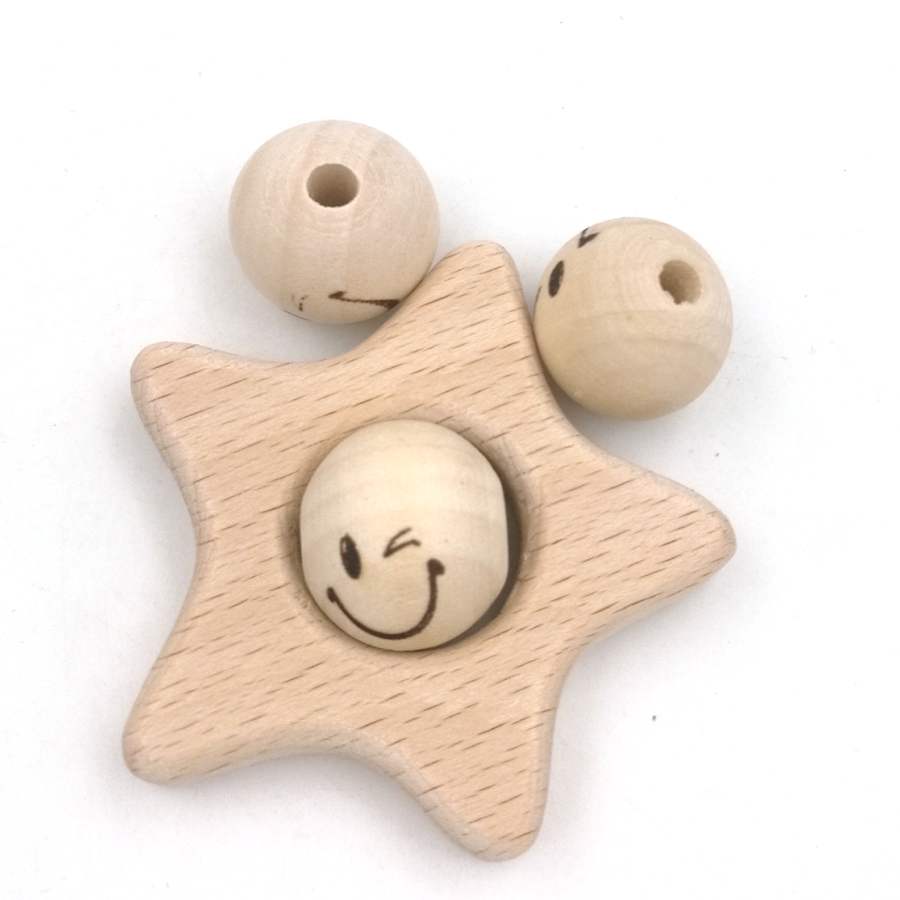 20mm wood emoj naughty smile face round ball bead for teether shaped burnt engrave diy accessory wooden craft decoration EA181