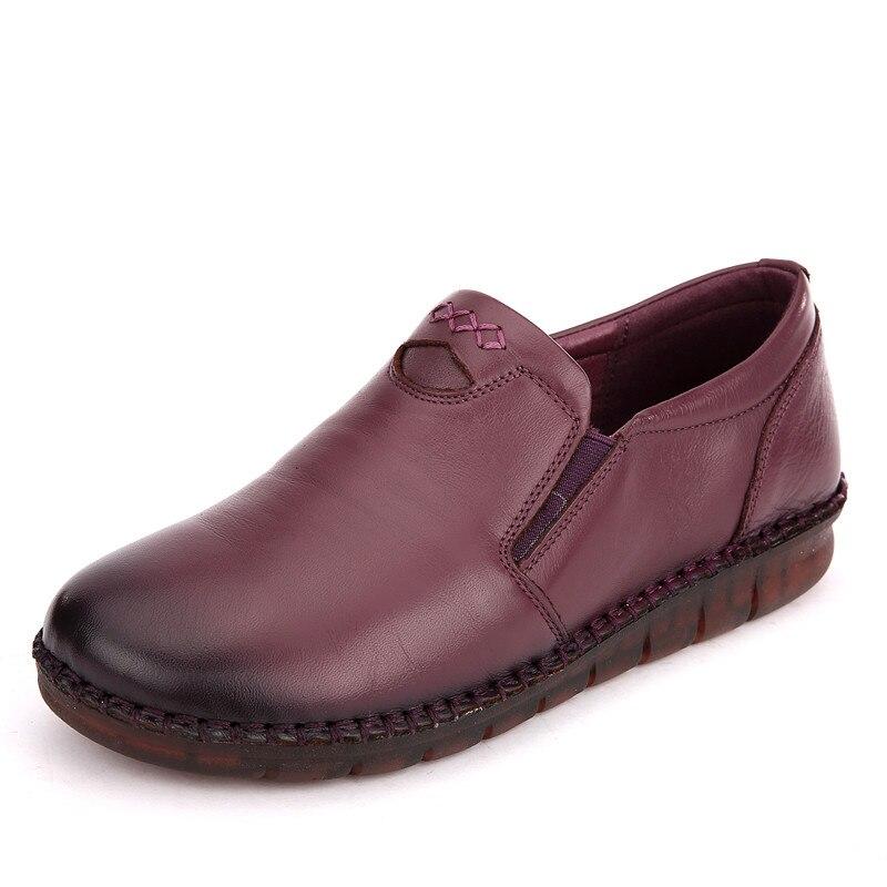 rouge Chaussures Fond Rétro Main Mou Gktinoo Noir Mode La Véritable Femmes Casual Doux pourpre En Appartements Coudre À Confortable Cuir nWHRRYxg7q