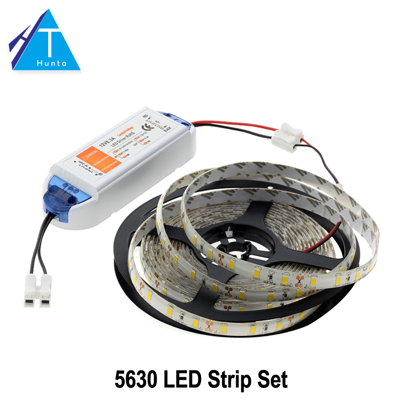 LED Strip 5630 Warm White/White/Cold White 5M 300LEDs Waterproof / Non Waterproof  Neon Lamp + DC12V 6.3A Driver 5pcs lot waterproof 60cm 40cm 30cm 20cm cob strip led bar lights for car lamps diy led lighting dc 12v 10w 20w warm cold white