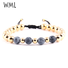 WML copper bead macrame Braided men bracelets 8mm Weathered natural stone Bracelets & bangles for women jewelry