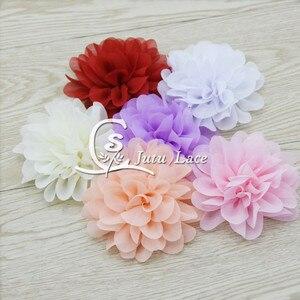 Image 2 - 100 sztuk/partia, 3.75 muszelki szyfonowe kwiaty, shabby szyfonowe kwiaty dla pałąk akcesoria mody akcesoria apperal