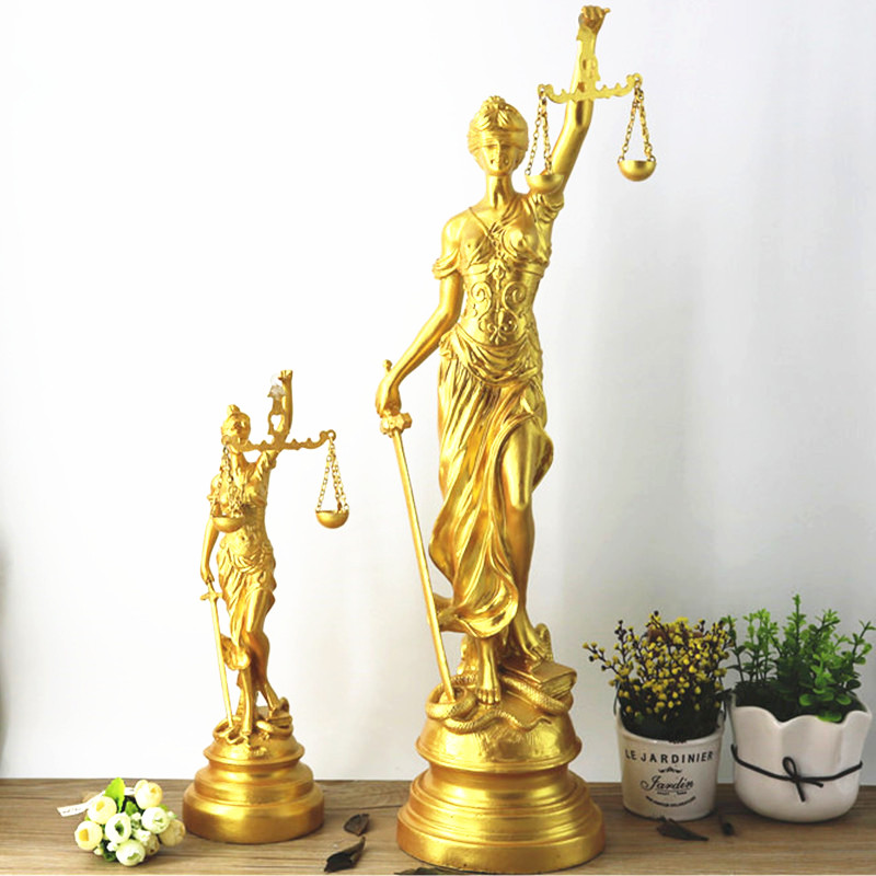 Greek Mythology Lady Justice Themis European Style Gold Figure Statue Retro Resin Art Craft Court Furnishing Articles G1445 greek mythology goddess aphrodite figurine hephaistos gypsum statue resin art