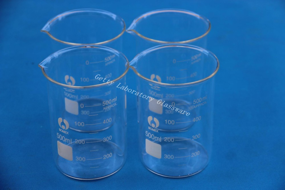 ФОТО 500 mL Lab Glass Beaker, 4pcs/lot