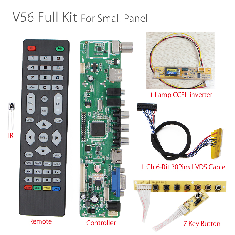 V56 Universal LCD TV Controller Driver Board PC/VGA/HDMI/USB Interface+7 key board+backlight inverter+1ch 6-bit 30pin lvds V29