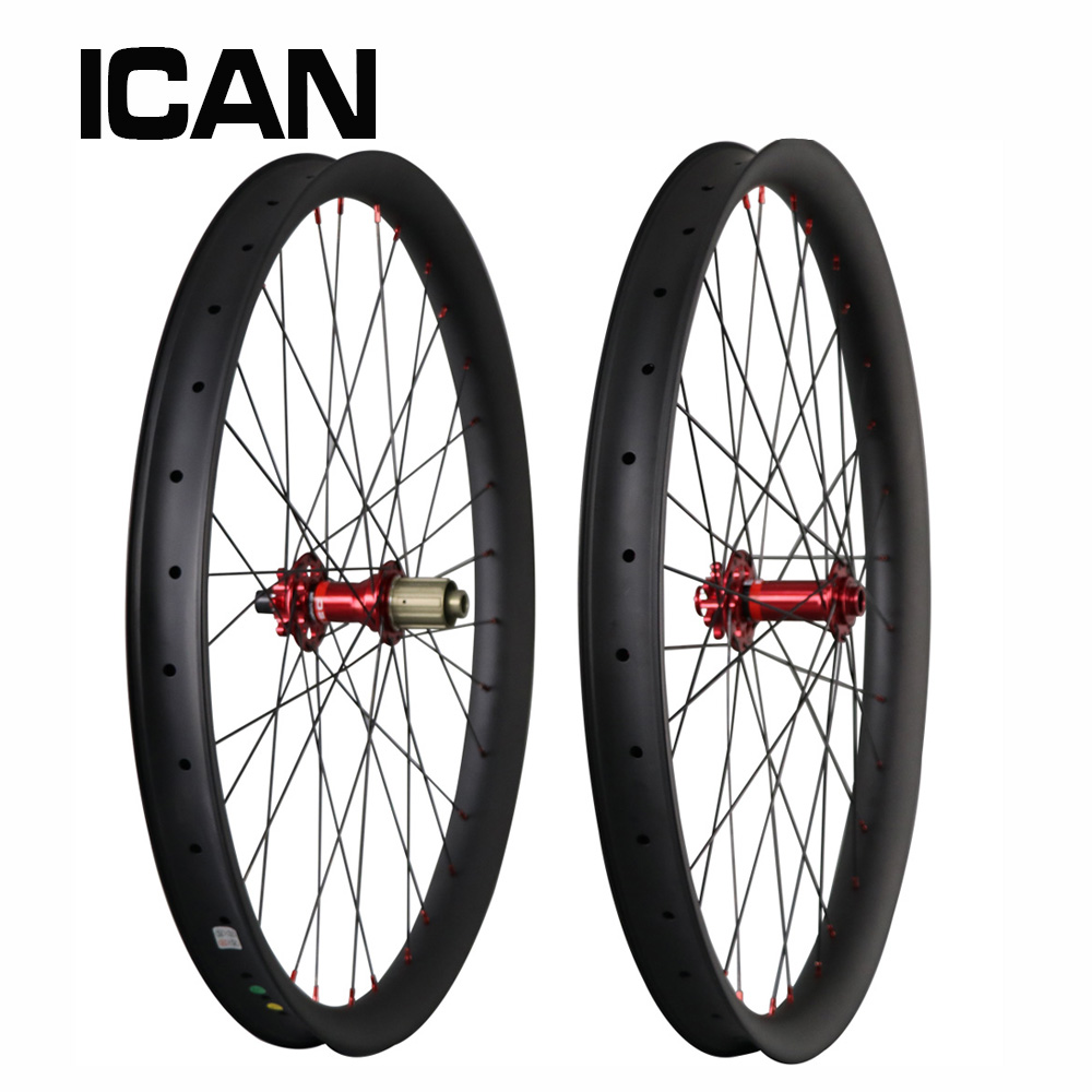 Boost 650B plus mountain carbon wheels 27.5+ mtb bicycle wheelset 50mm width clincher hookless ready Chinese ICAN brand 27 5er mtb wheels width 35mm carbon mtb wheels novatec 791 792 thur axle 650b mountain bikes bicycle mtb wheels