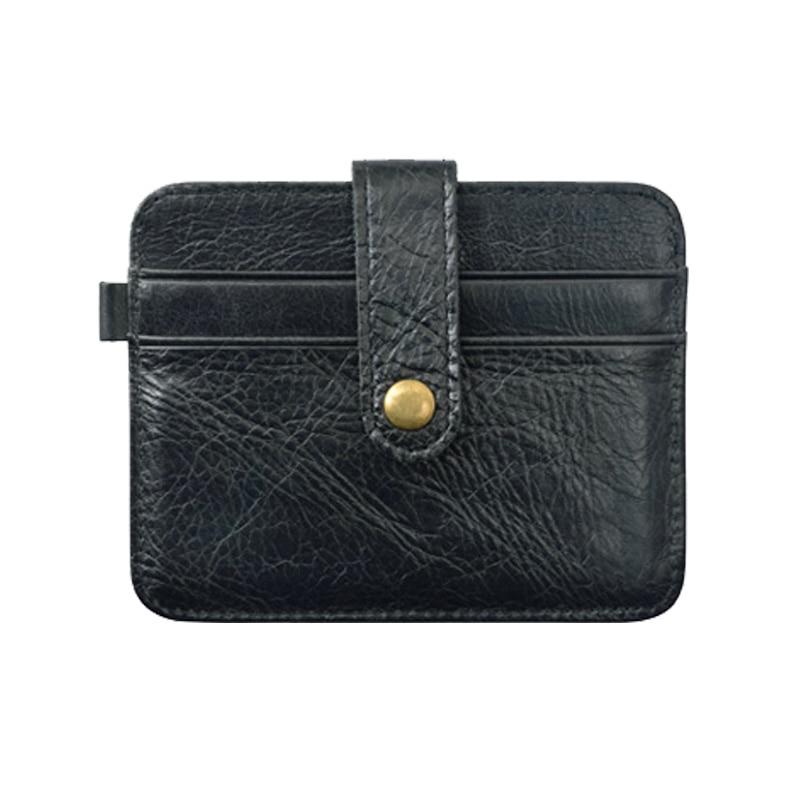 Gibo Auja - Oil Wax Genuine Leather Card Holder Minimalist Slim Wallet Card Case Mini Men Wallets Credit Card Organizer Purse