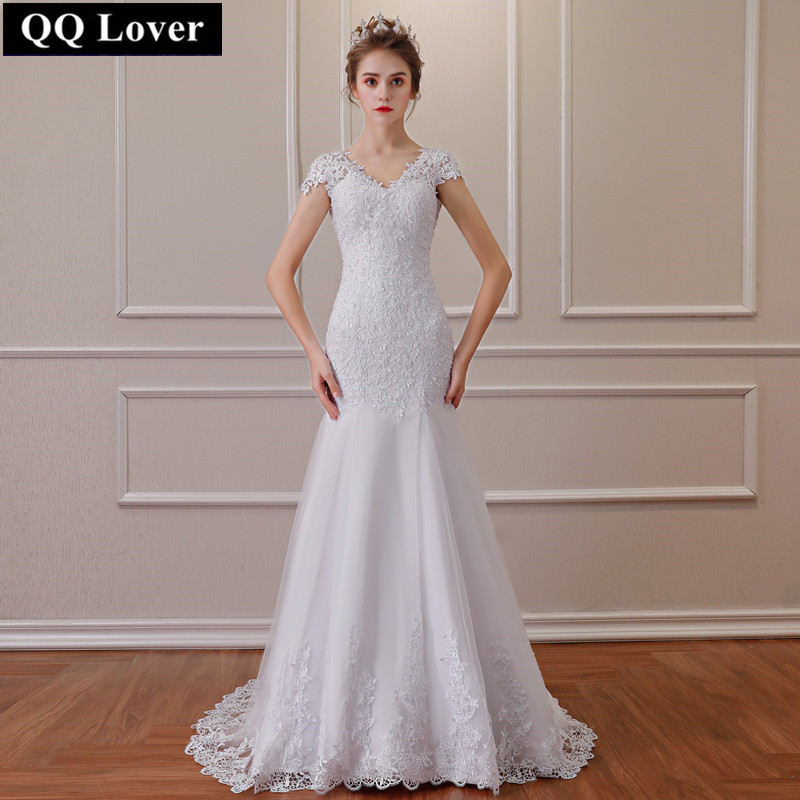 QQ Lover 2019 Vintage Mermaid Lace Wedding Dresses Appliques Vestido De Noiva Backless Bridal Gowns Sexy Pearls Wedding Gowns