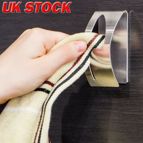 New Self Adhesive Home Kitchen Wall Door Stainless Steel Towel Holder Hook Hanger-in Bathroom Hooks from Home & Garden