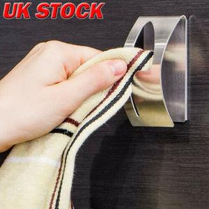 Image 1 - New Self Adhesive Home Kitchen Wall Door Stainless Steel Towel Holder Hook Hanger