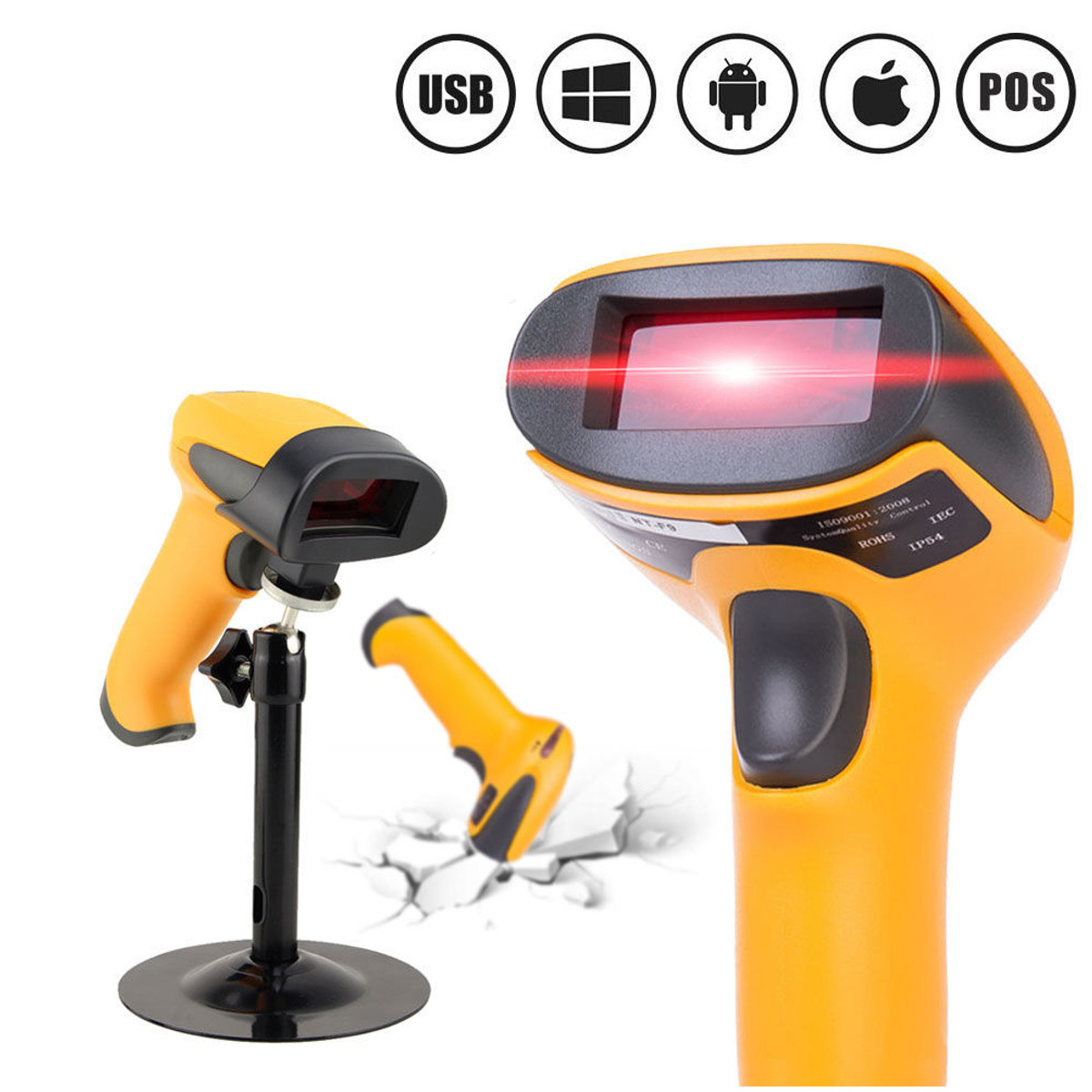 Portable USB Laser Barcode Scanner Automatic Bar Code Scan Reader With Stand Handheld POS For Business Supermarket handheld wireless usb data collector handheld barcode scanner reader laser bar code pos terminal for supermarket store warehouse