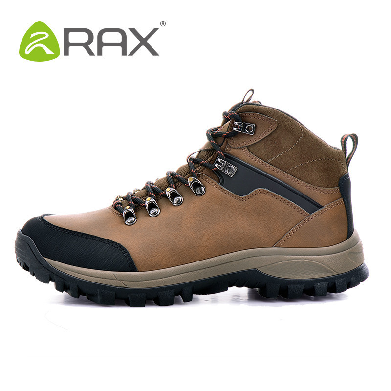 ФОТО RAX Men Waterproof Hiking Boots Genuine Leather Hiking Shoes Men Lightweight Climbing Boots Breathable Mountaineering Shoes Men