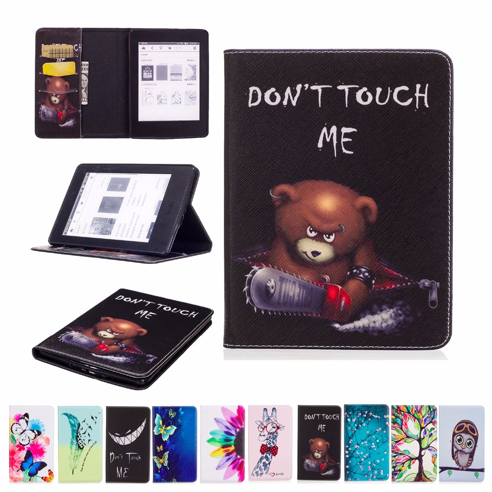 2017 Hot Sale For Amazon Kindle Paperwhite 6 Cover Flip PU Leather Painting Case Book Stand Tablet Smart Ultra Slim Shell+Gift fashion pu leather ultra slim smart cover case for amazon kindle paperwhite 1 2 3 6case tablet shell with sleep