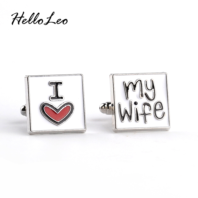 2018 New Fashion Cufflink for men I Love My Wife Design Good Husband Cuff Link Men Shirt Charm Zinc Alloy Cufflinks Wholesale(China)