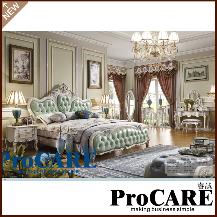 Luxury Bedroom Furniture Sets,Top Genuine Leather Headrest Modern Soft Bed,  Frech Style Bed