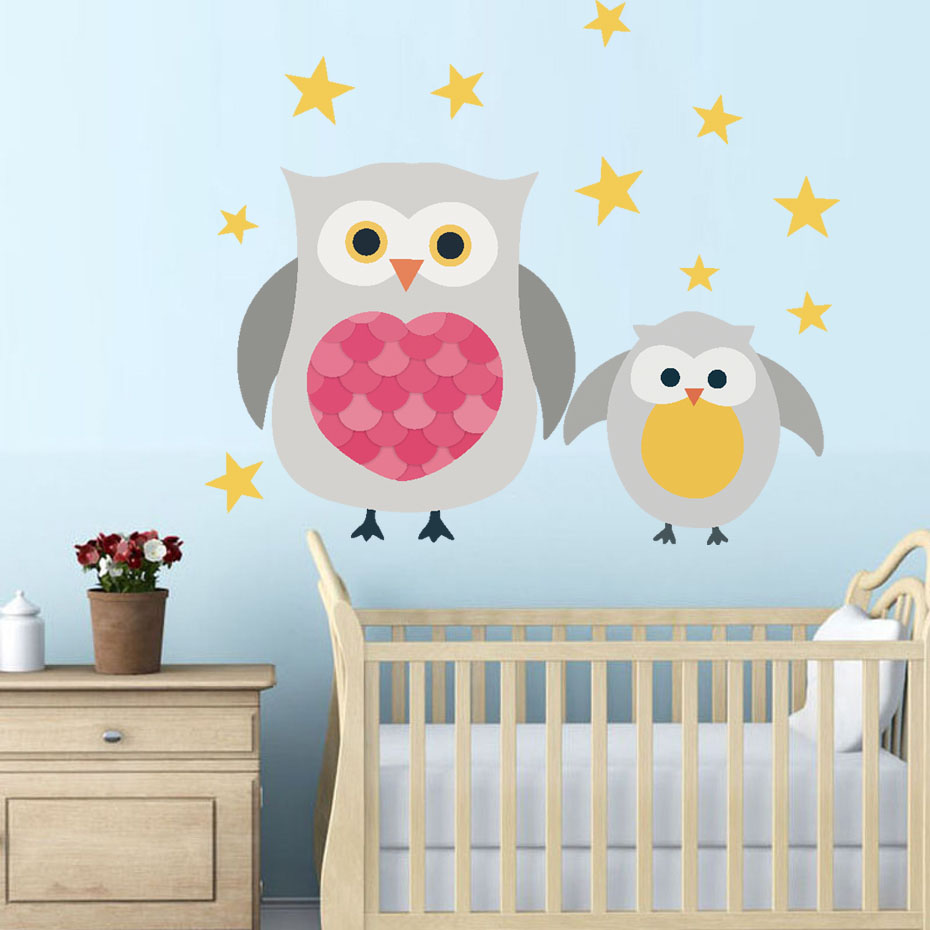 Cute Baby Owl Funny Wall Stickers lovely Animal stars Wall ...