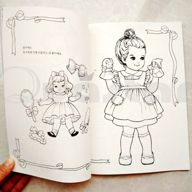 Aliexpress Buy Fashion Korean Paper Doll Cute Girl Coloring Book For Adult Children Antistress Relieve Stress Painting Drawing Graffiti Books From
