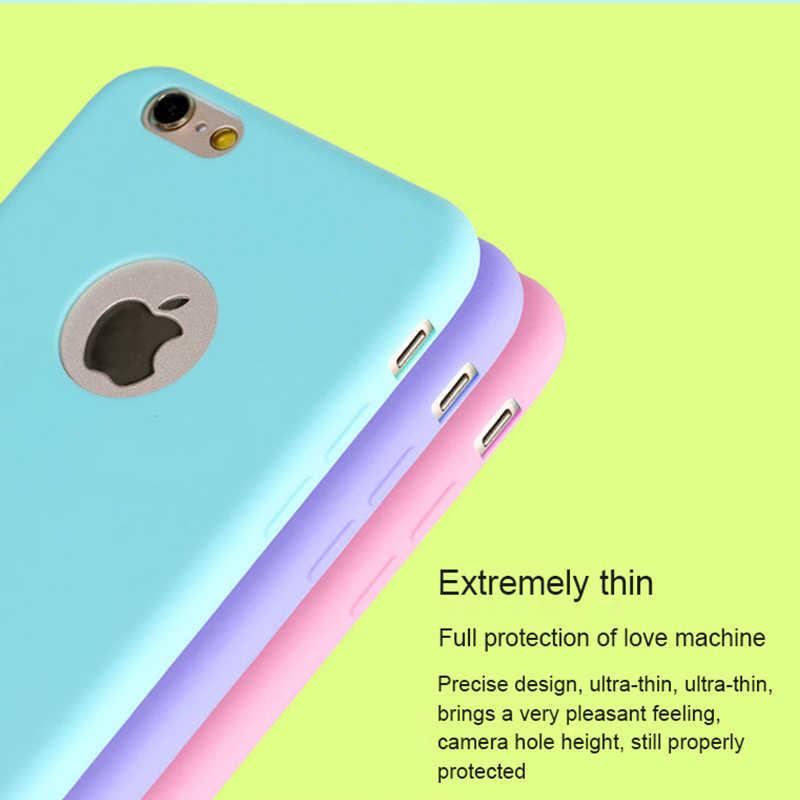 Original funda de silicona suave iPhone 7 para iPhone 7Plus 6 S 6 5S 5 5S X XR XS Max SE funda de goma antigolpes de caramelo bonito 6Plus 7Plus