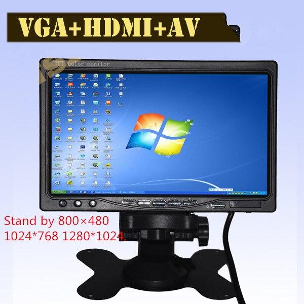 Super HD ЖК-дисплей 7-дюймовый монитор с VGA + AV + HDMI ультра высокая яркость до 1024*600 дисплей автомобиля монитор Семья и автомобиля использования