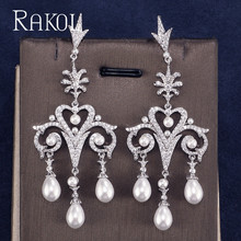 RAKOL Dangle Earring Cubic Zircon Imitation Pearl Charm Fascination Enchantment Fit For  Female Anniversary Dress RE521286