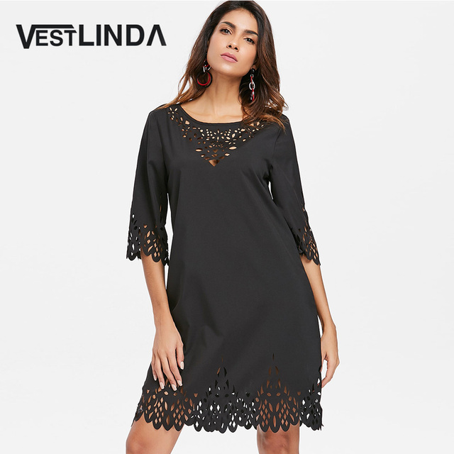 VESTLINDA Laser Cut Hollow Out Mini Dress Summer 2018 Casual Loose O Neck  Half Sleeve Mini Shift Dress Solid Vestidos De Festa d554b2460d82