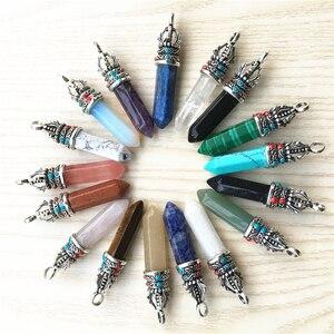 Image 2 - Gorący kamień naturalny kryształ filar Lapis Lazuli ametysty wisiorki i naszyjniki kobiety Charms dla tworzenia biżuterii punkt wisiorek 24 sztuk