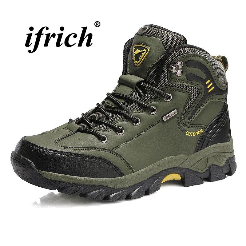 Scarpe Da Trekking uomo di Grande Formato 39-47 di Alta Top Sneakers per Uomo Marrone Verde Maschio Arrampicata Stivali Inverno Non antiscivolo Scarpe Da Trekking