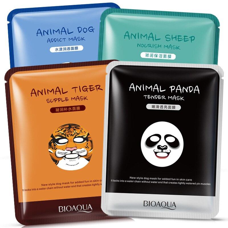 Маска для лица с животными, глубокая увлажняющая маска для лица с контролем жирности кожи, Корейская маска для лица с пандой, тигром, биоаква