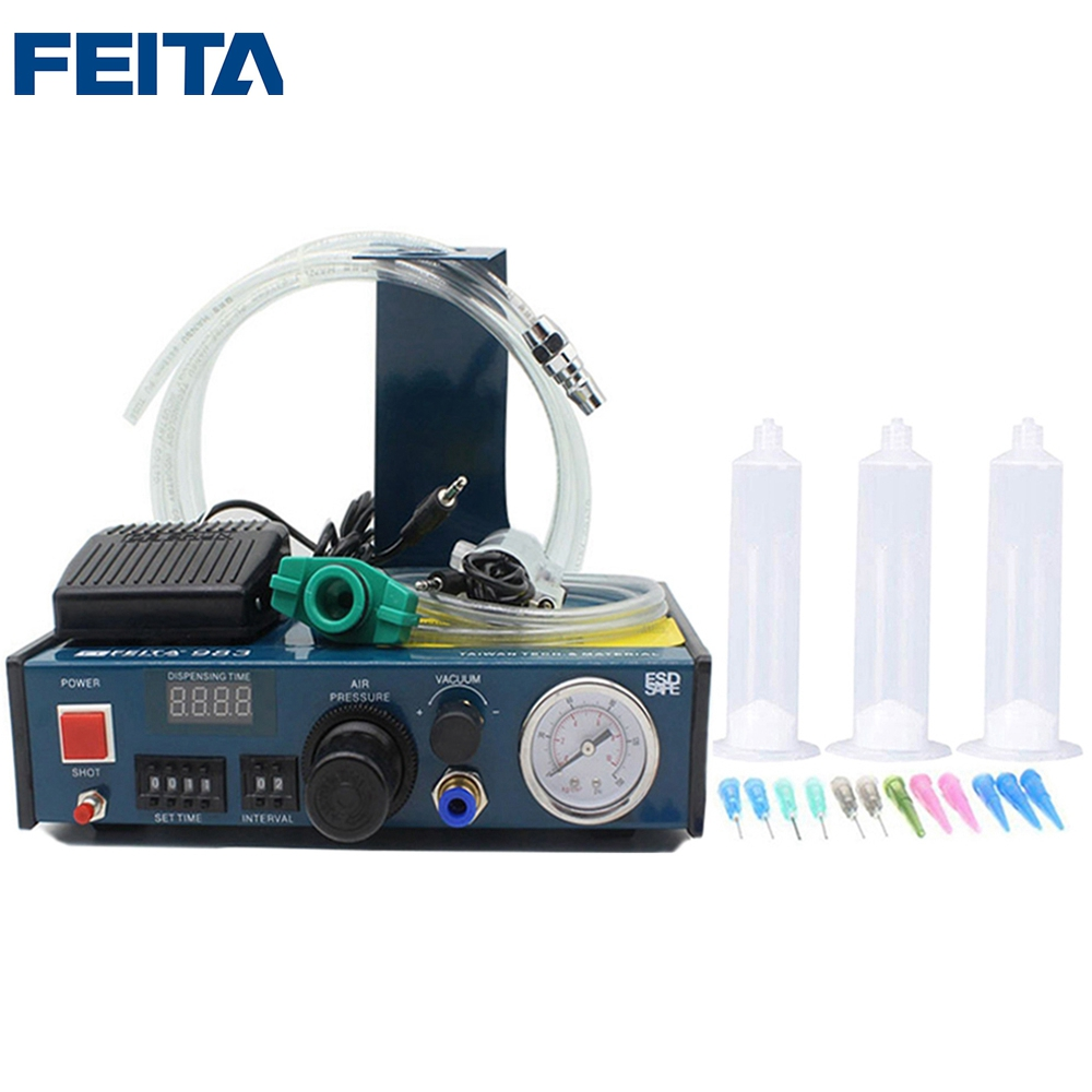 FEITA FT-983 Liquid Anaerobic Adhesive Glue Dispenser Automatic Fluid Syringe Dropper Dispensing Machine with Foot Pedal 11 11 free shippinng 6 x stainless steel 0 63mm od 22ga glue liquid dispenser needles tips
