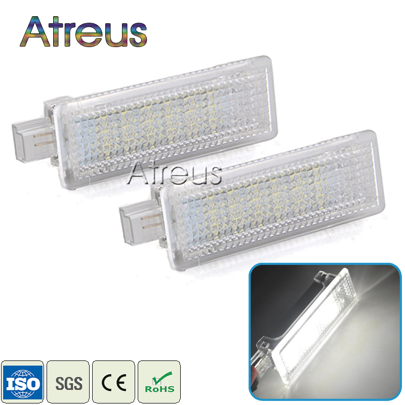 Atreus 2X bil LED velkomstlys 12V for BMW E60 E90 E87 F10 E81 E63 MINI For Range Rover White SMD3528 LED Courtesy Lampe