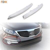 2pcs Mirror Chrome Front Bumper Fog Light Lamp Eyelid Eyeline Trim Garnish for Kia Sportage R 2011 2015