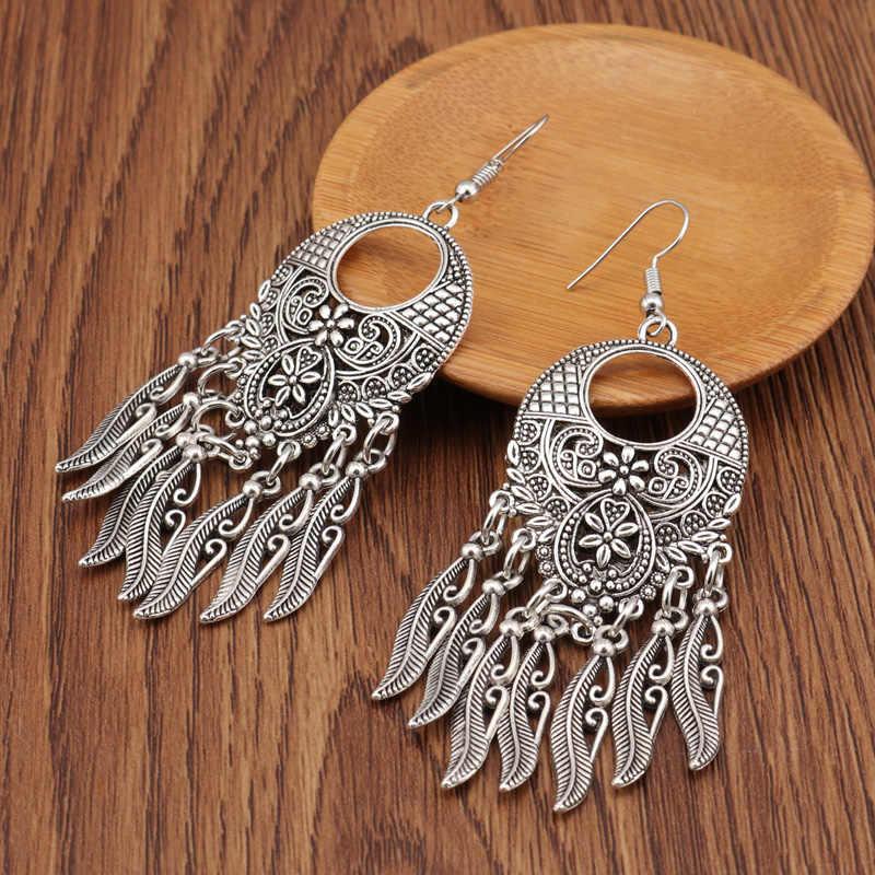 Tenande Vintage Tibet Silver Color Big Statement Hollow Carved Flowers Geometric Patterns Leaves Tassel Drop Earrings for Women