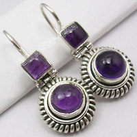 Silver AMETHYST BIG Dangle Earrings 4 2CM