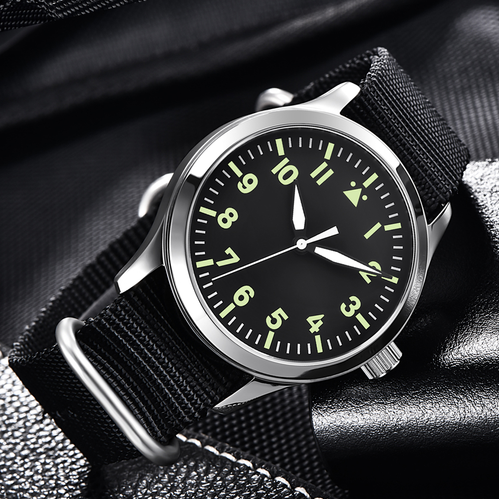 Automatic Mens Watch 42mm Top Brand Luxury Seagull Miyota  Military Luminous Waterproof Nylon Belt 316SS Mechanical WristWatches