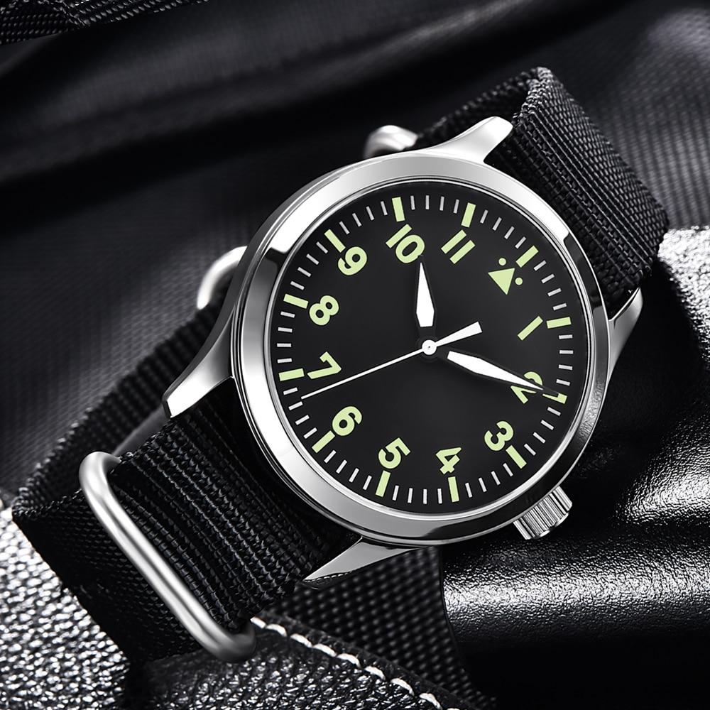 Automatic Mens Watch 42mm Top Brand Luxury Seagull Miyota  Military Luminous Waterproof Nylon Belt 316SS Mechanical WristWatches