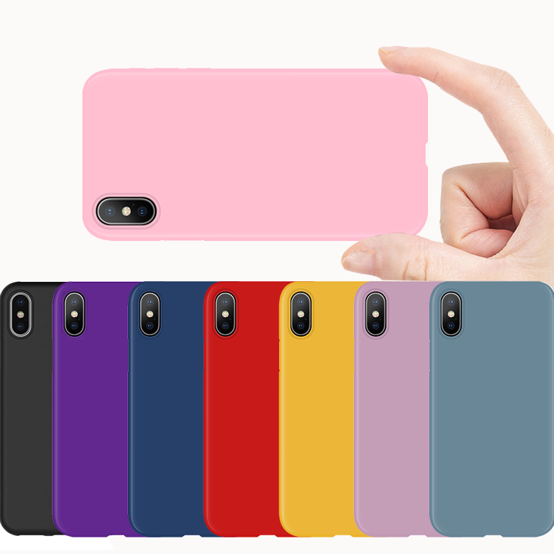 Colorful Matte Phone Coque For iPhone 7 Plus For iPhone 6 6S 7 8 Plus Silicone Fundas For iPhone X XR XS Max 9 10 TPU Case Cover